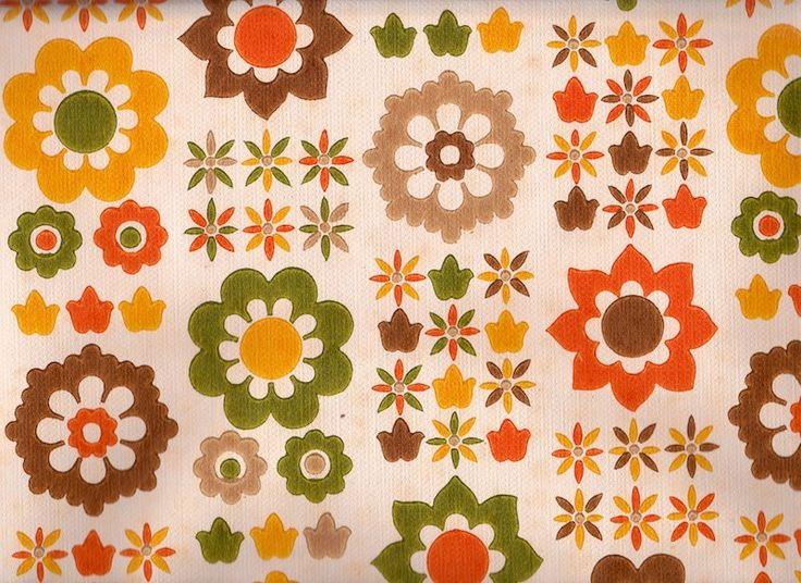 Vintage 1970s Wallpaper Fab funky 70s flowers by Pommedejour 736x536