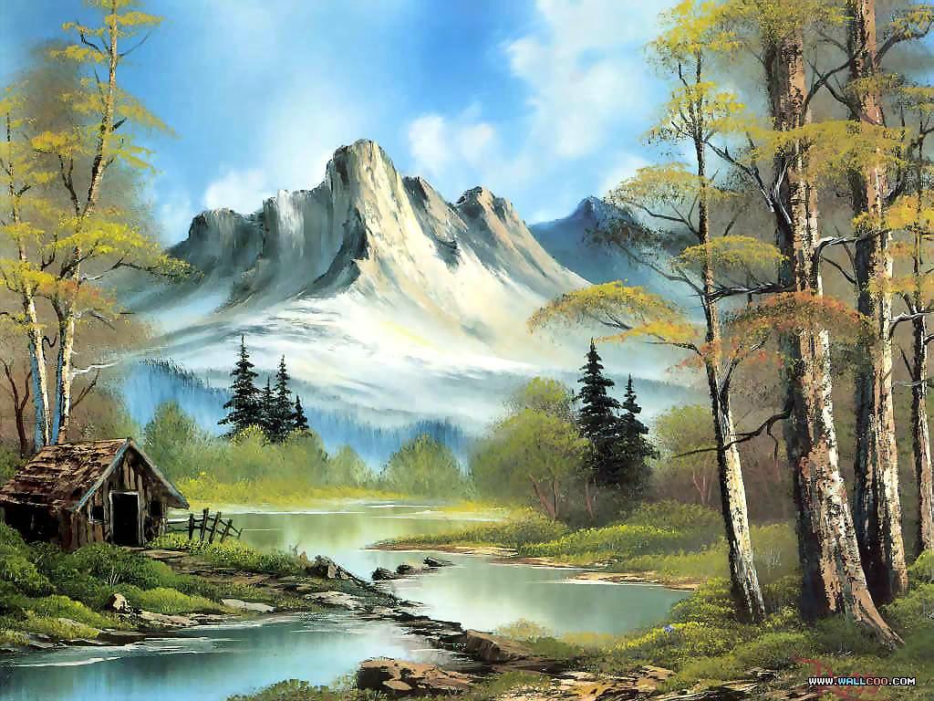 Bob Ross Oil Paintings Landscape Paintings 1024768 NO29 Wallpaper 1024x768