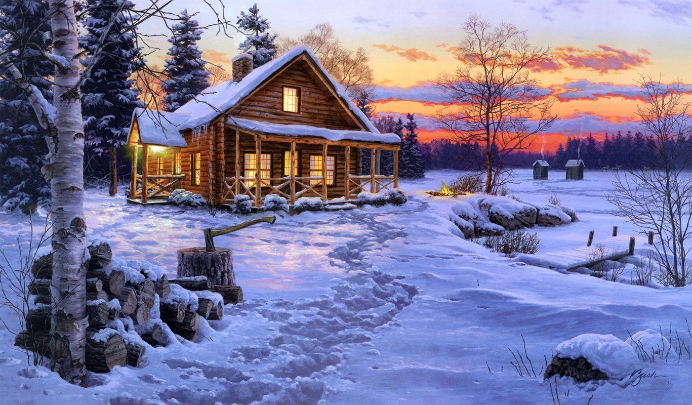 Log Cabin Painting 1367x800