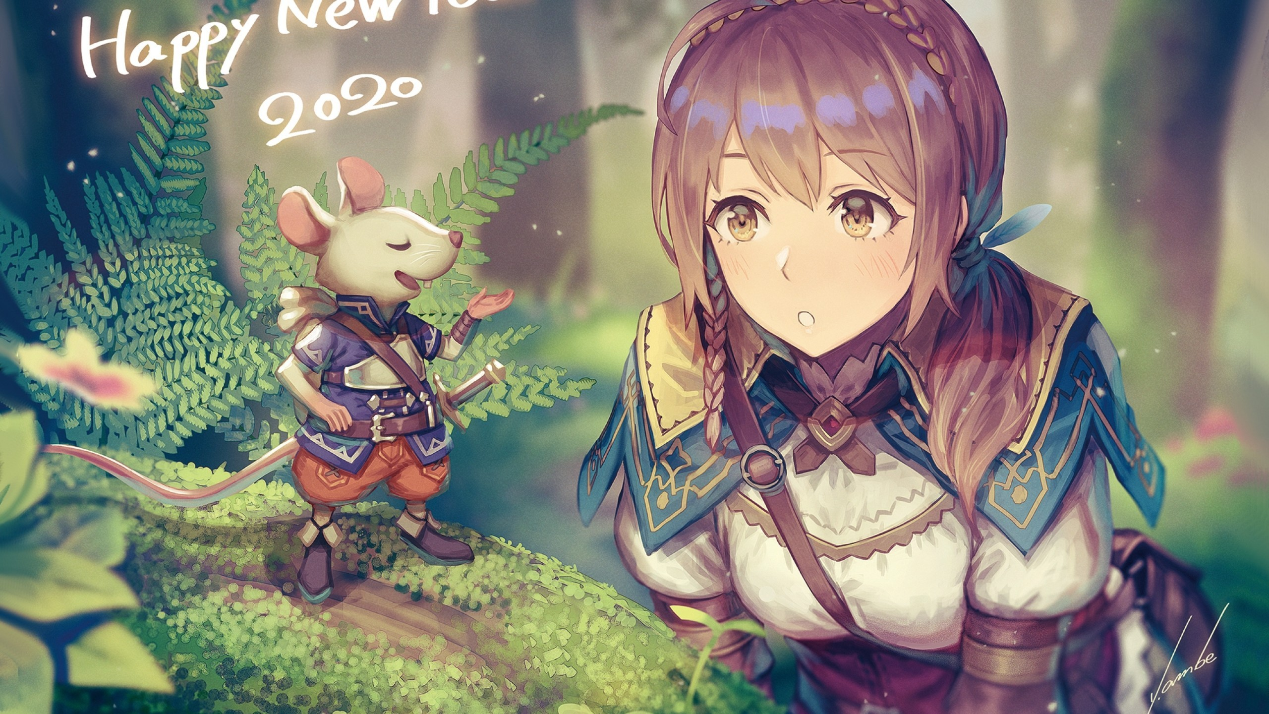 Download 2560x1440 Anime Girl Adventurer Forest Light Armor 2560x1440