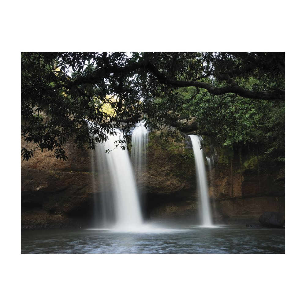 MD91034UMBPS Hidden Forest Waterfall Rocks Peel and Stick Wall Mural 1000x1000