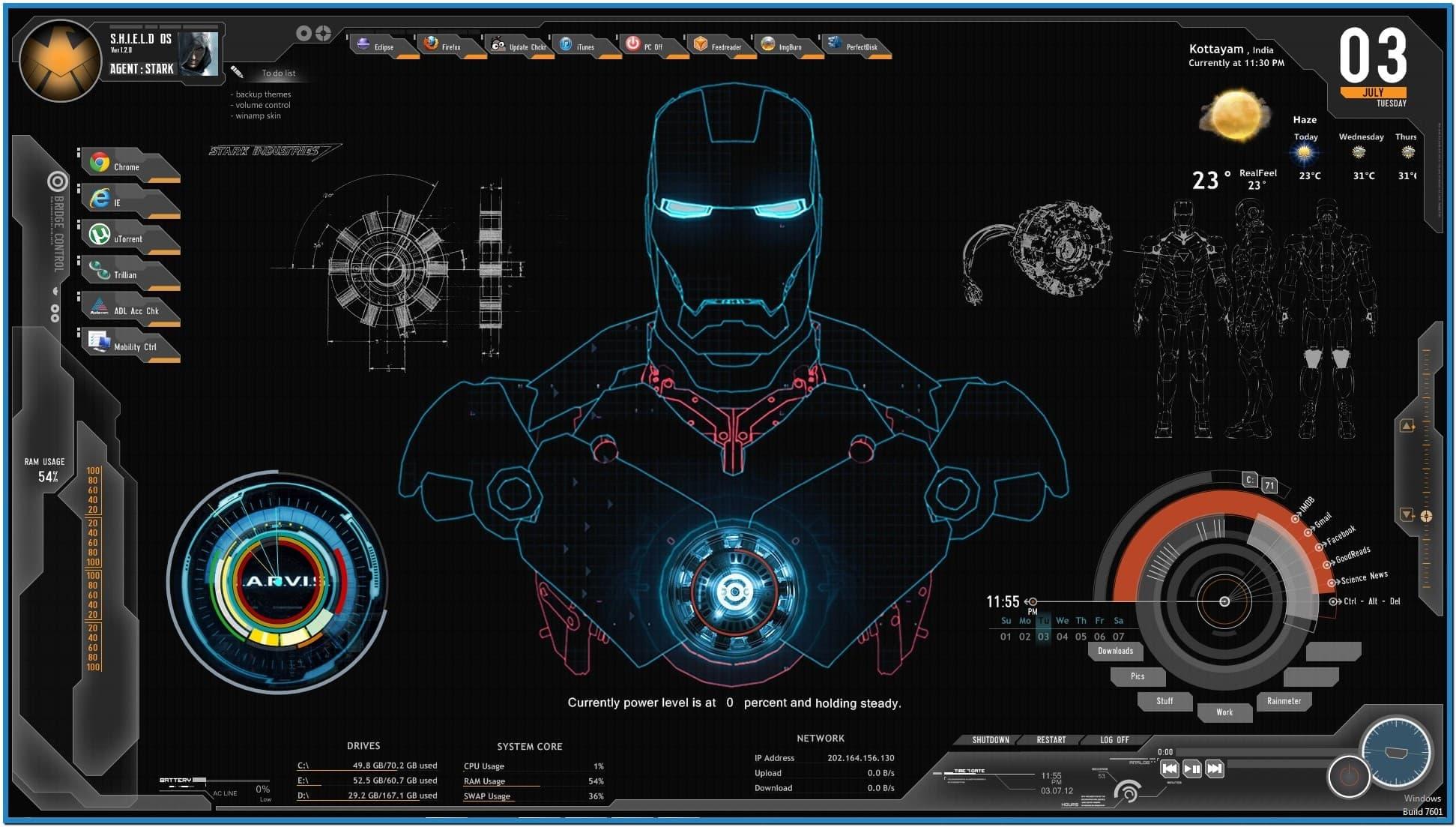 Screensaver Jarvis Iron Man 1943x1103