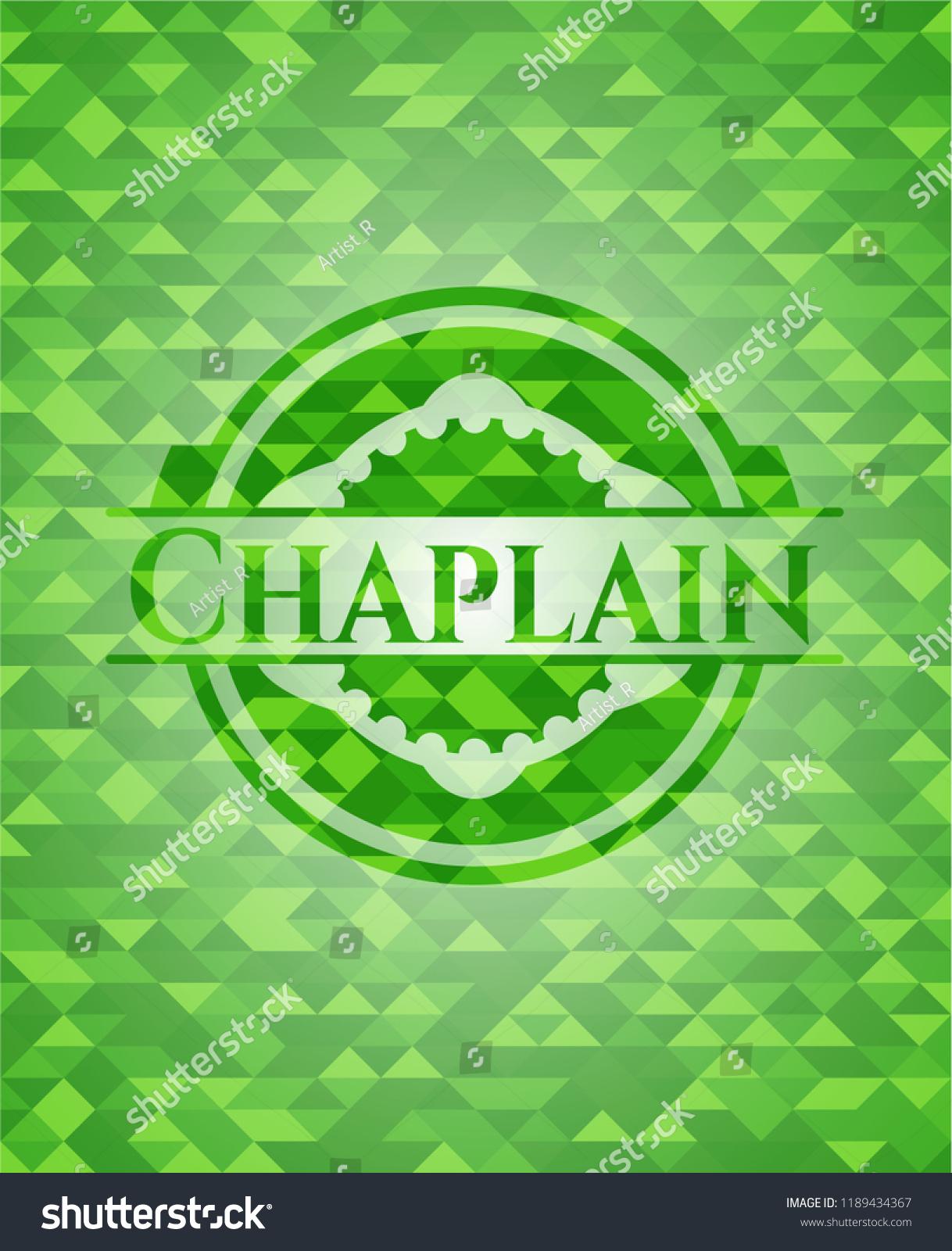 Chaplain Green Emblem Mosaic Background Stock Vector Royalty 1218x1600