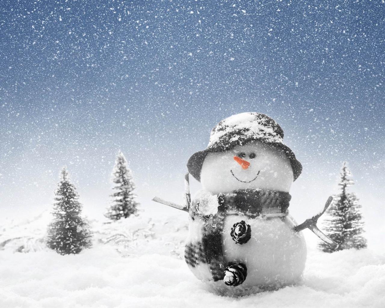 cute snowman Christmas HD computer wallpaper 06   1280x1024 wallpaper 1280x1024
