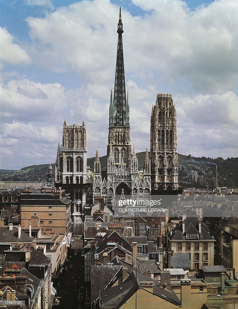 View Of Cathedral Of Notredame Rouen France 13th16th Century Stock 791x1024