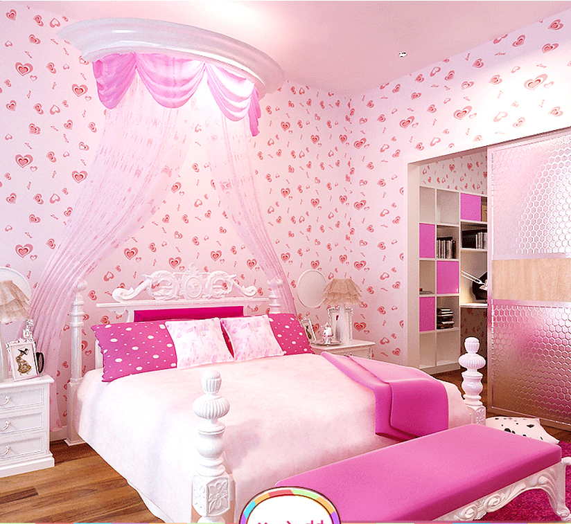 pink heart girls room self adhesive wallpaper for easy paste and 824x757