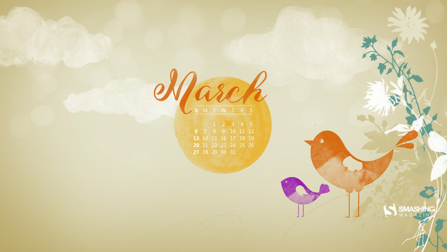 Desktop wallpaper calendar   Martie 2016 bun venit primavara A 920x518