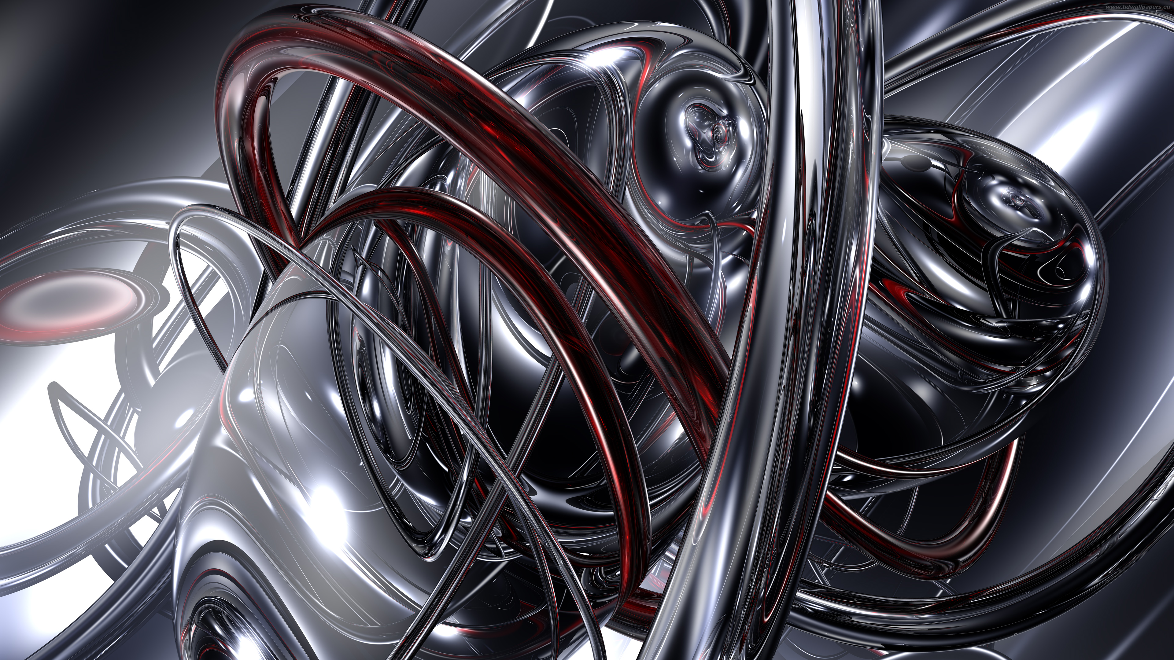 com Black White Silver Abstract Swirls 4K Wallpaper 3840x2160