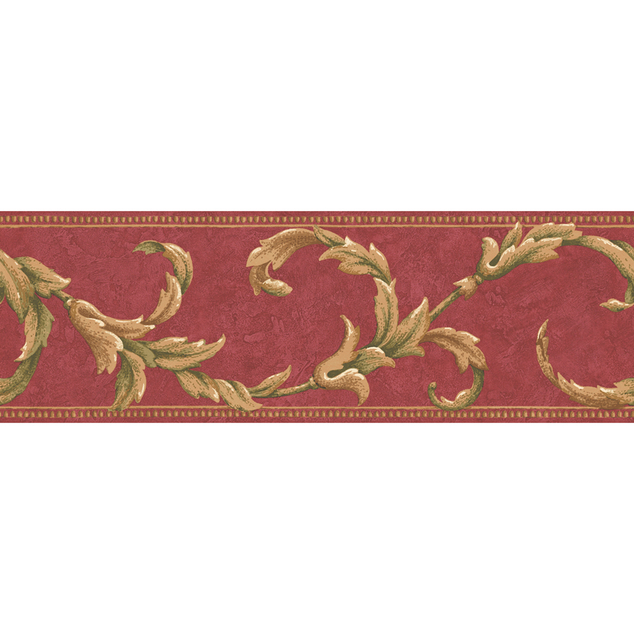allen roth 6 78 Red Scroll Prepasted Wallpaper Border at Lowescom 900x900