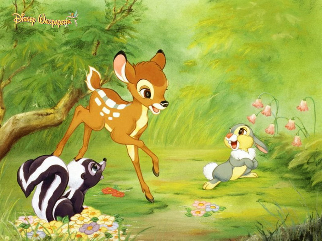 Disney Cartoon Bambi and Friends Wallpaper 1024x768
