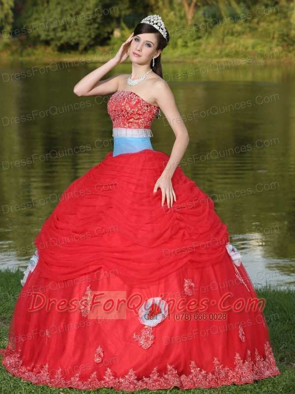 quinceanera dressestulle strapless red for girl with flower beaded 600x800