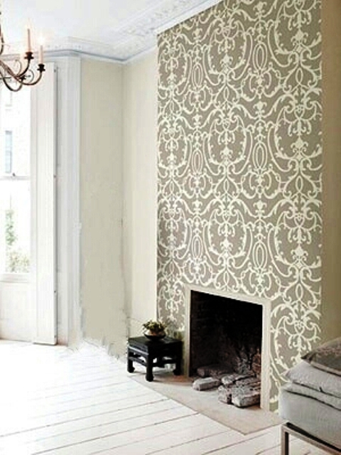Focal wall wallpaper wallpapersafari Fireplace feature wall colour