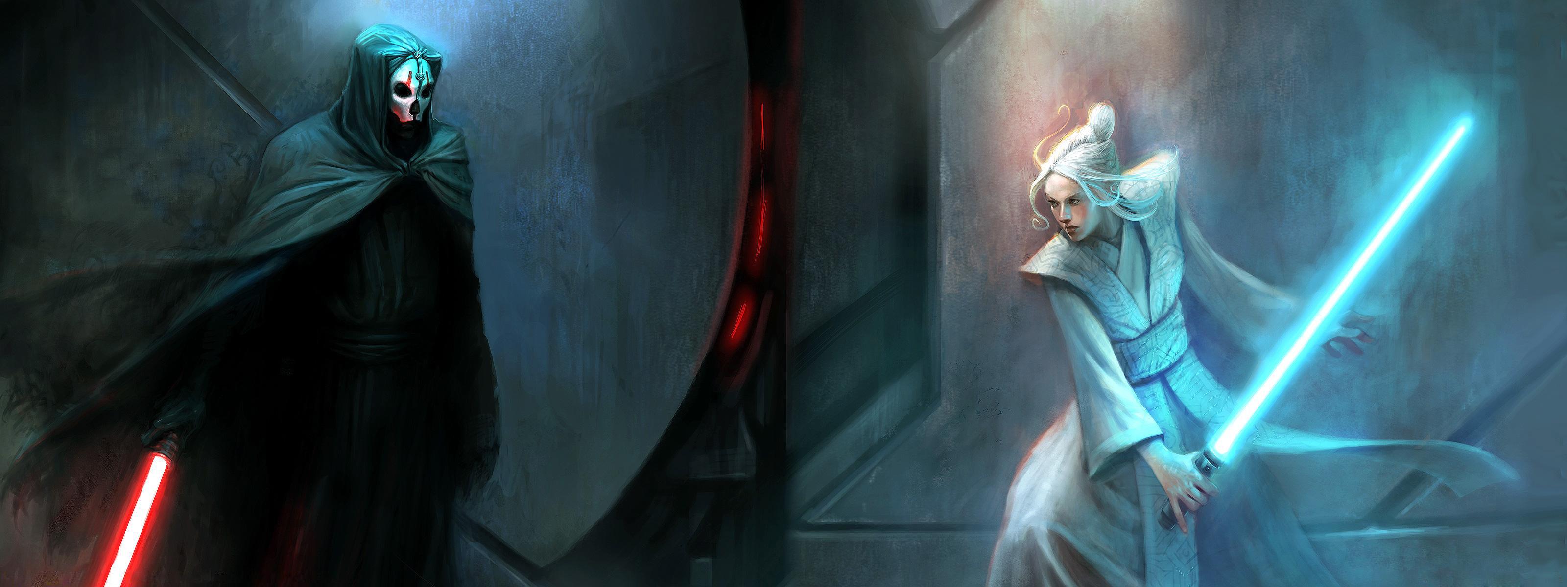 Star Wars Jedi Vs Sith Wallpaper 2 3200x1200