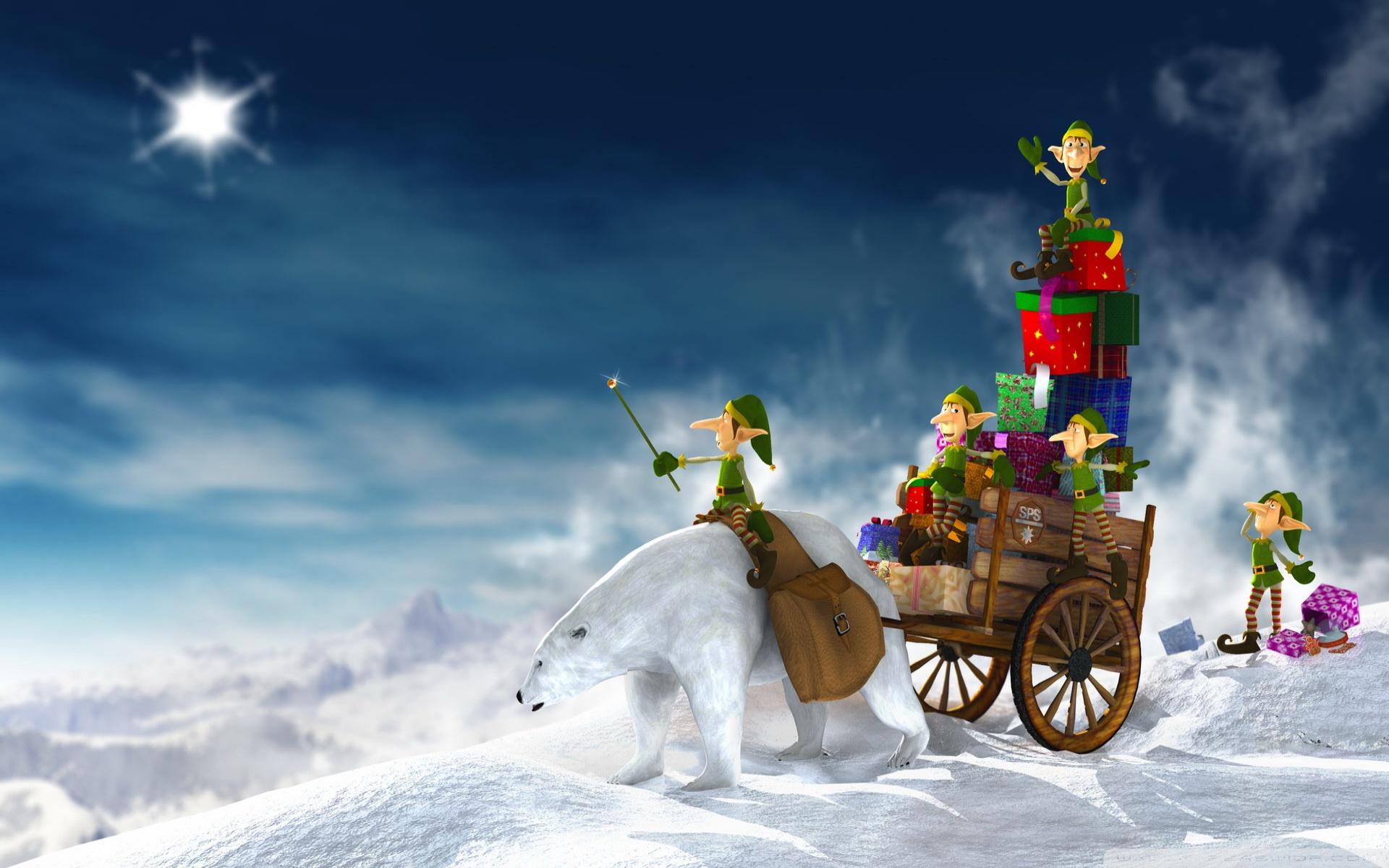 Christmas Elves 3D 4K HD Desktop Wallpaper for 4K Ultra HD TV 1920x1200
