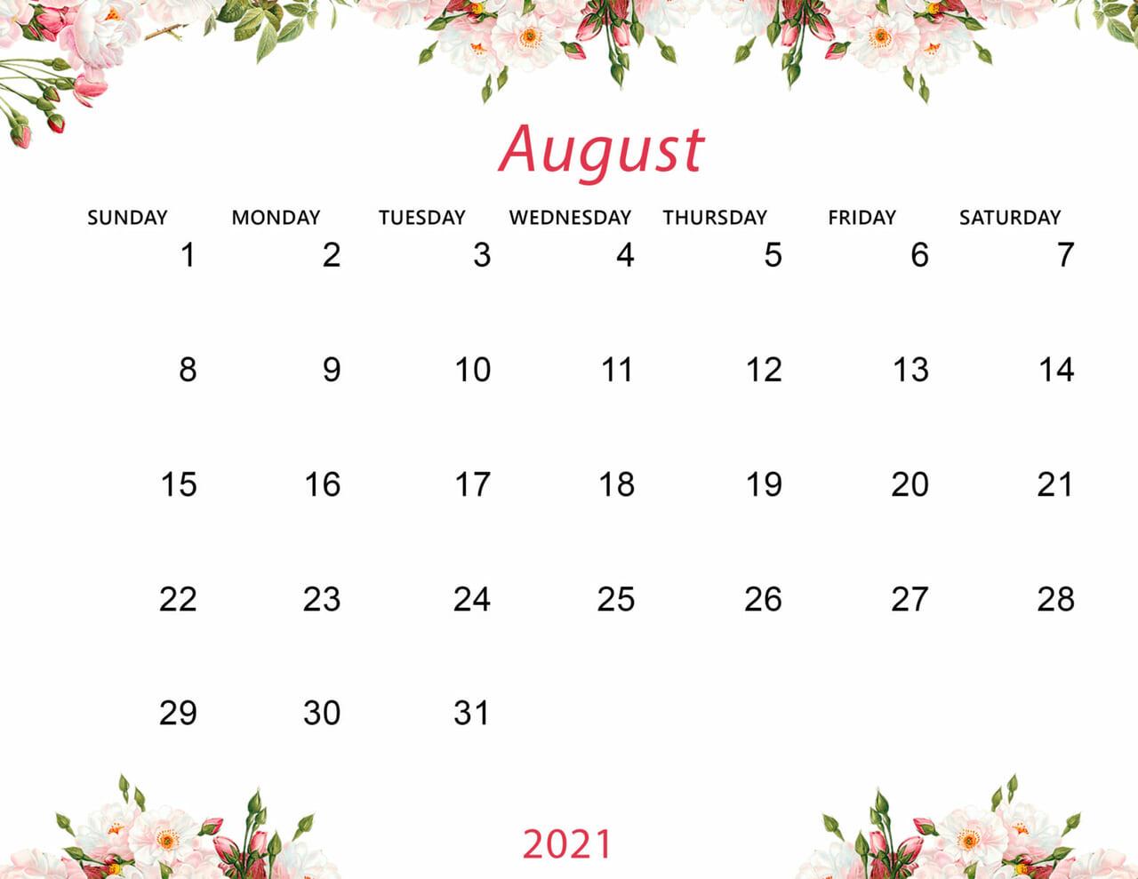 Cute August 2021 Calendar Desktop Wallpaper on We Heart It 1280x989