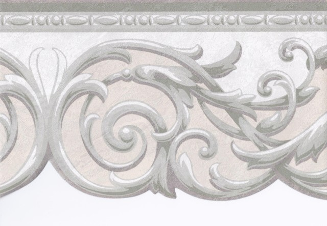Grey Cream Silver Molding Wallpaper Border   Traditional   Wallpaper 640x444