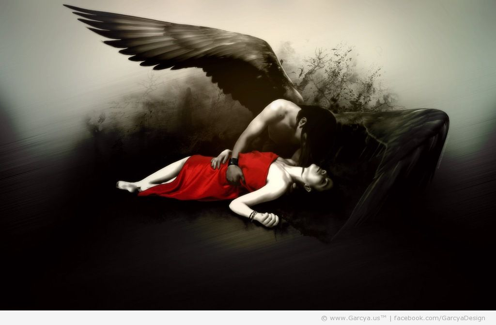 Dark angel man protects his arms a woman dressed in red realistic 1024x670
