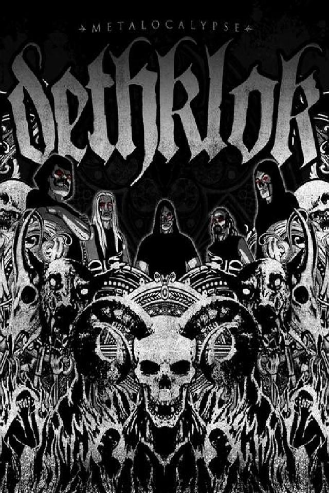 Dethklok music artists wallpaper for iPhone download 640x960