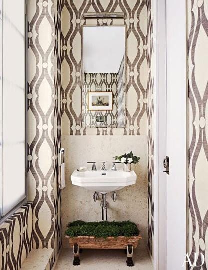 Wallpapered Powder Rooms 416x540