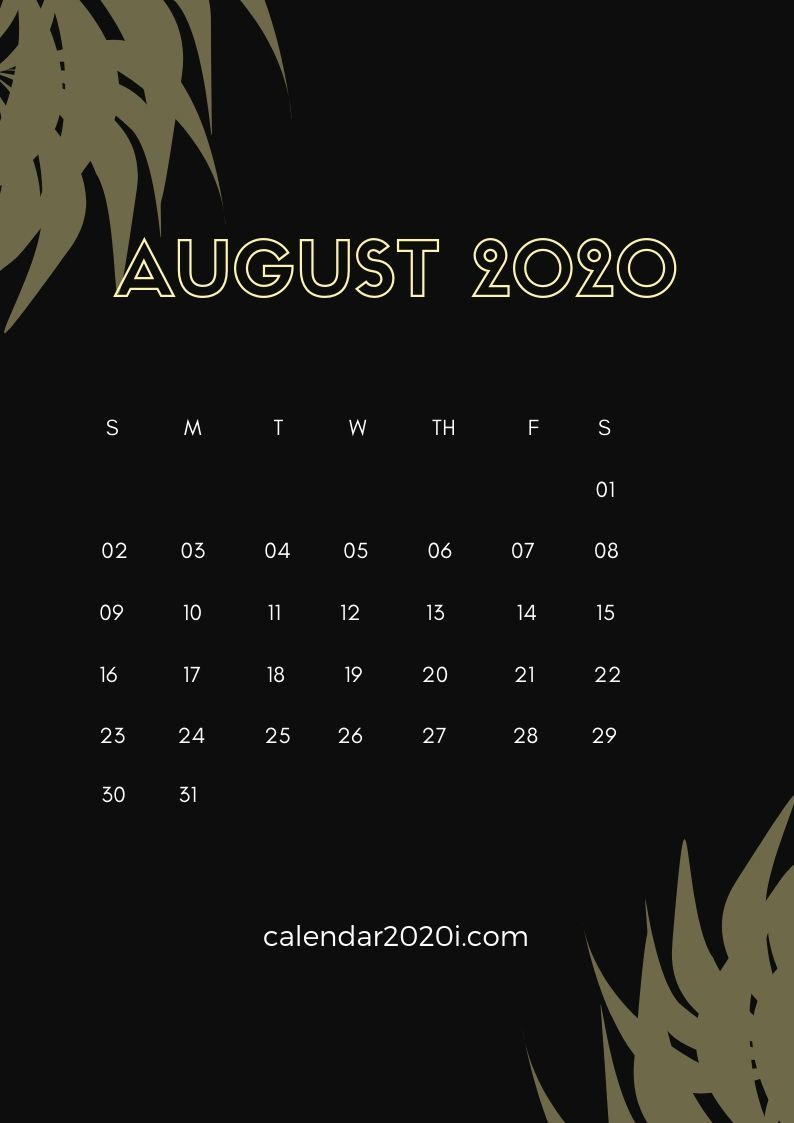 August 2020 Calendar Wallpapers   Top August 2020 Calendar 794x1123