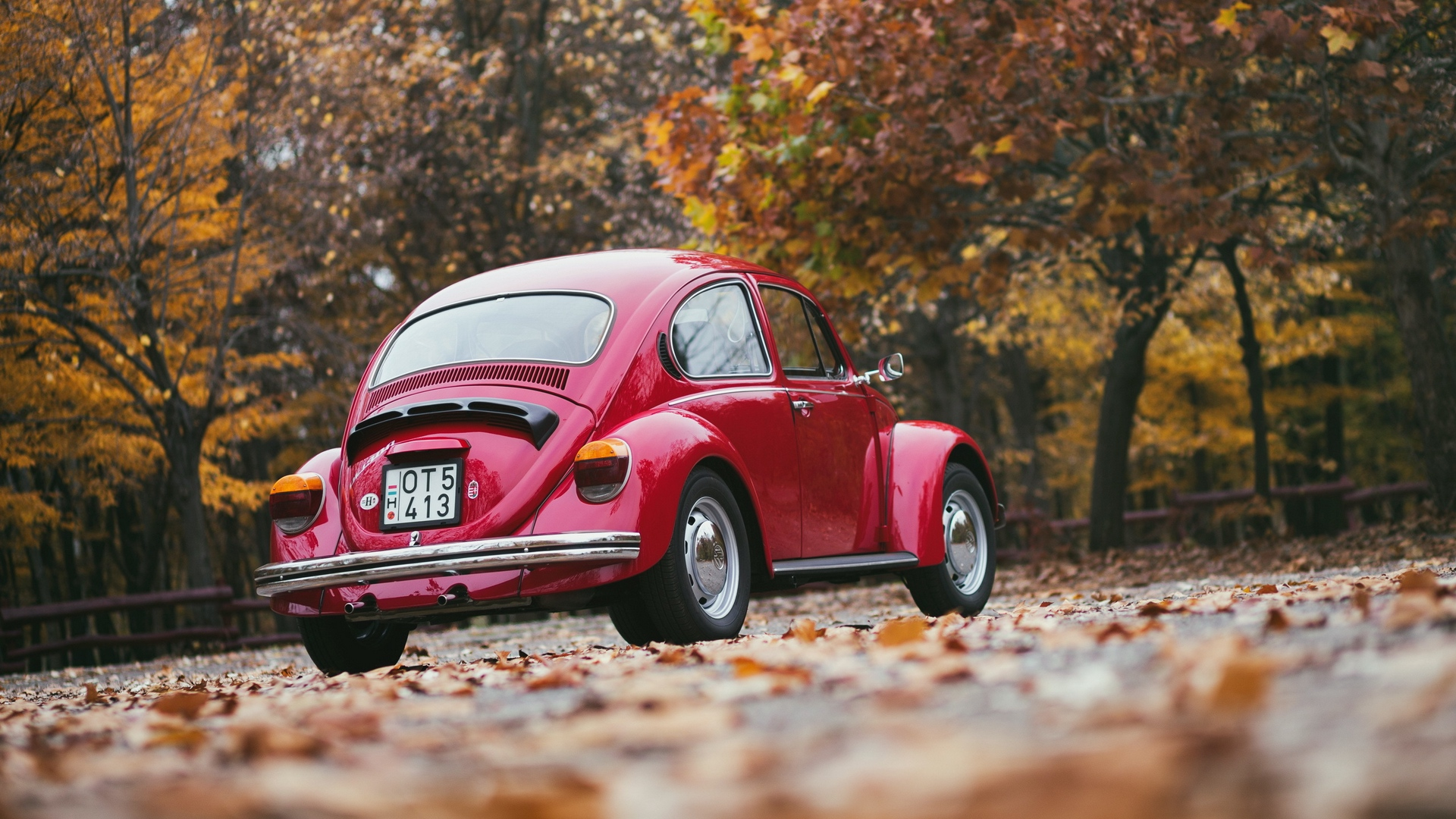 Download wallpaper 1920x1080 volkswagen red rear view full hd 1920x1080