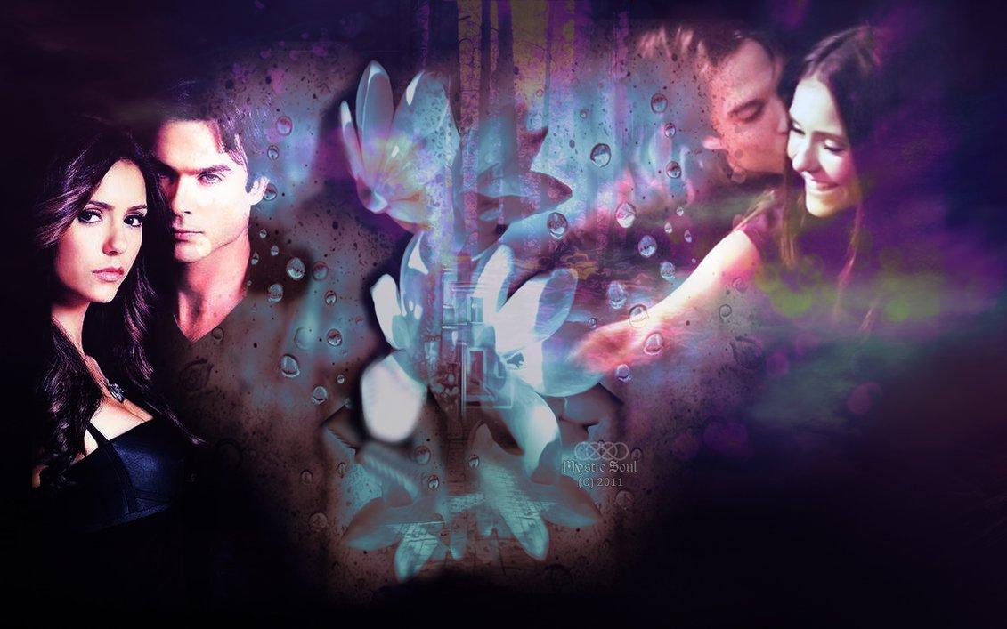 Damon and Elena  Vampire Diaries Fan Art Wallpaper by Mysticsoulfanart 1131x707