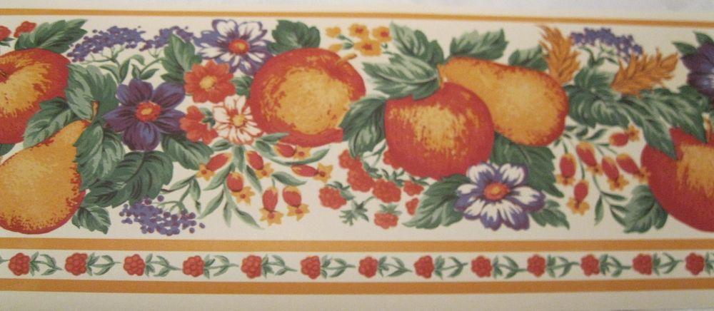 Wallpaper Border Country Kitchen Fruit Flowers Cream Wall Orange Trim 1000x436