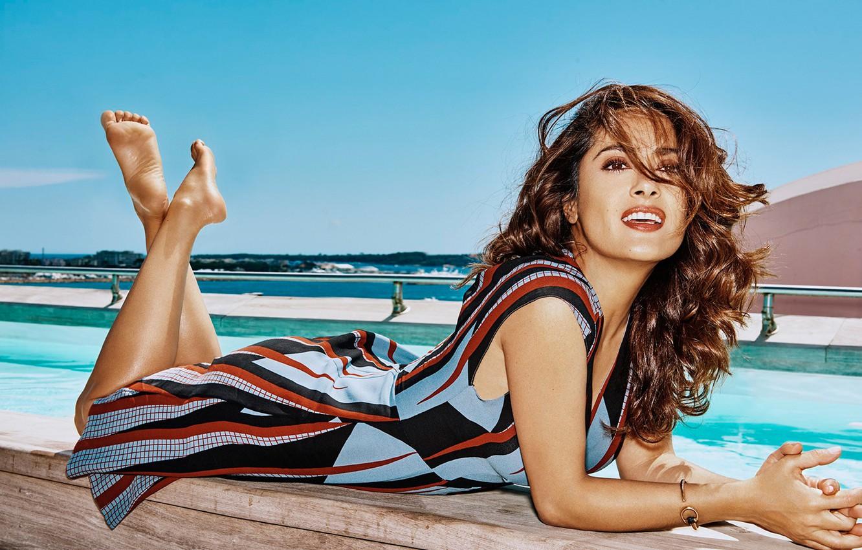 Wallpaper sea beach pool makeup dress actress brunette 1332x850