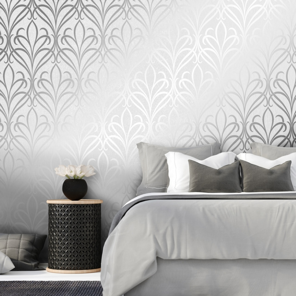 Henderson Interiors Camden Damask Wallpaper Soft Grey Silver 1000x1000