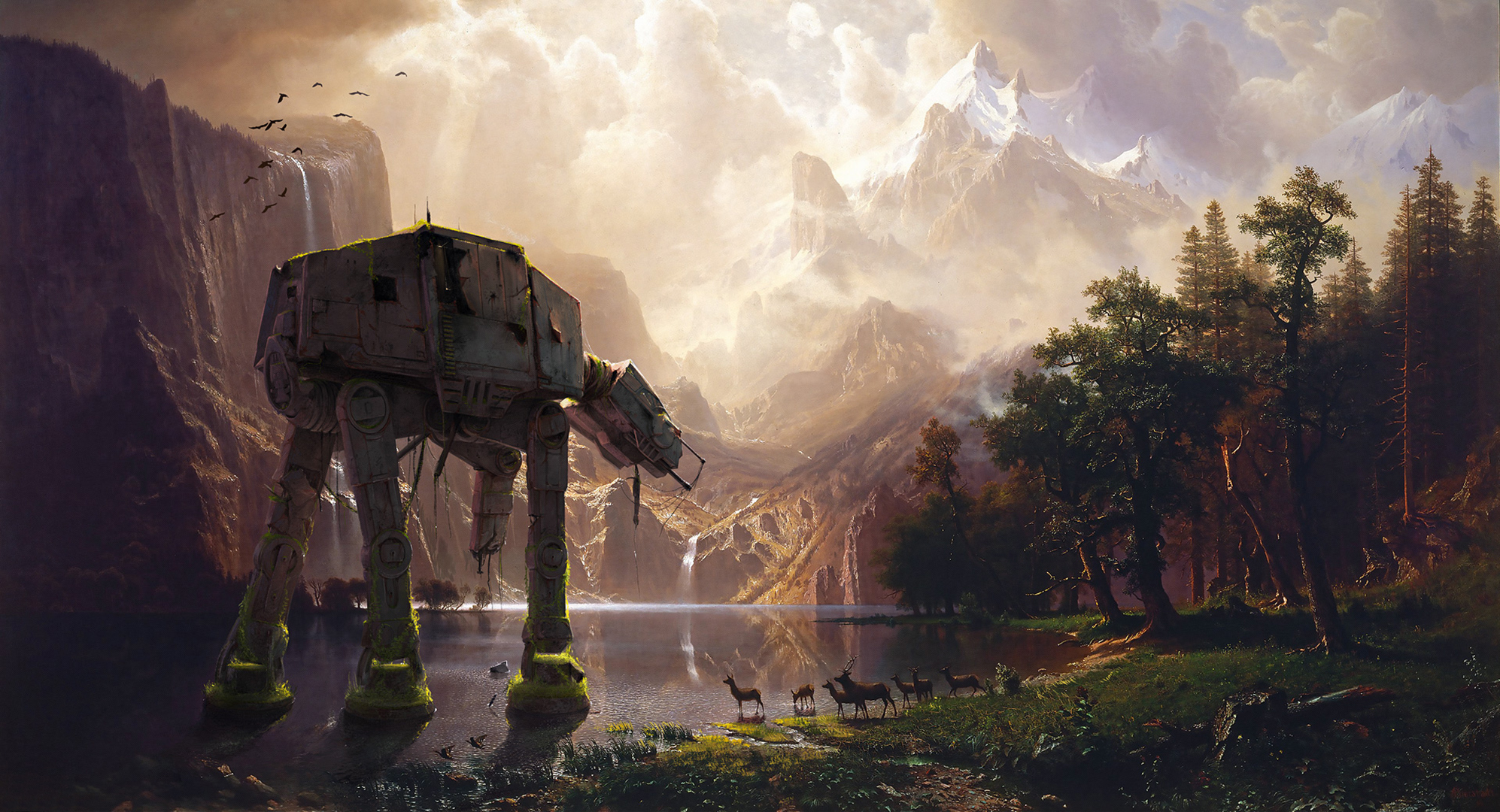 forest lake star wars imperial walker wallpapers photos pictures 1994x1080