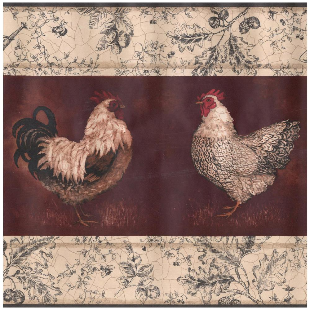 York Wallcoverings Beige Black White Rooster Hen Wine Red 1000x1000