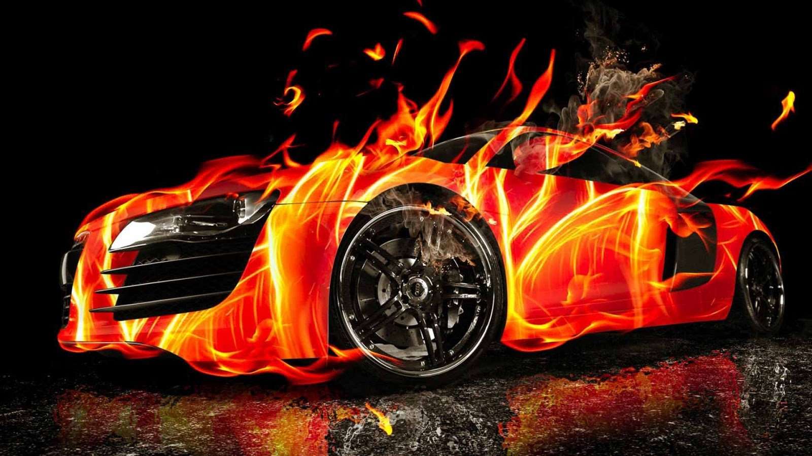 Cool Car Fire Art Wallpaper 5293 Wallpaper Wallpaper Screen 1600x900