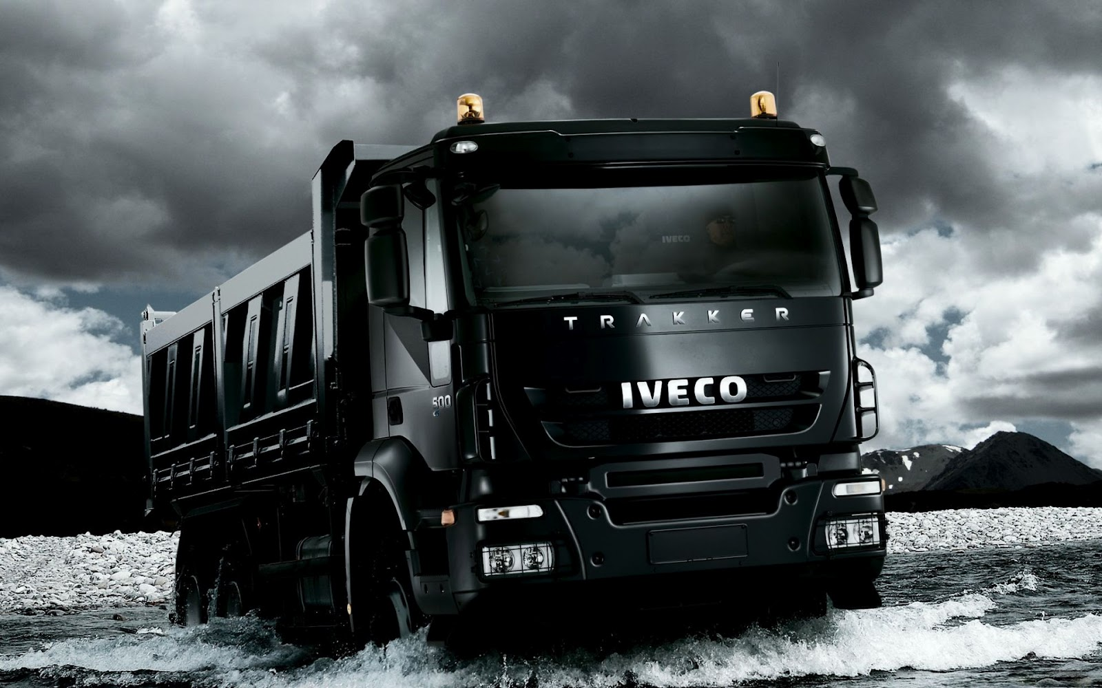 Black Iveco Trakker Truck HD Desktop Wallpaper 1600x1000