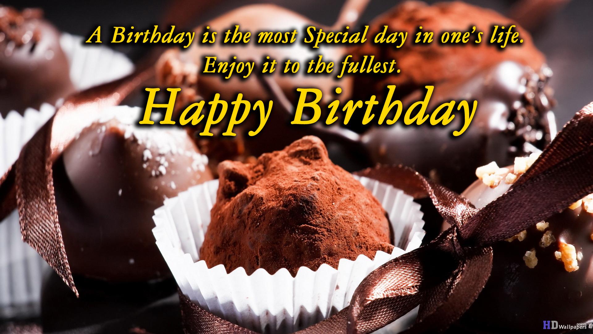 Chocolate Birthday Wishing Cake Desktop HD Wallpaper 1920x1080