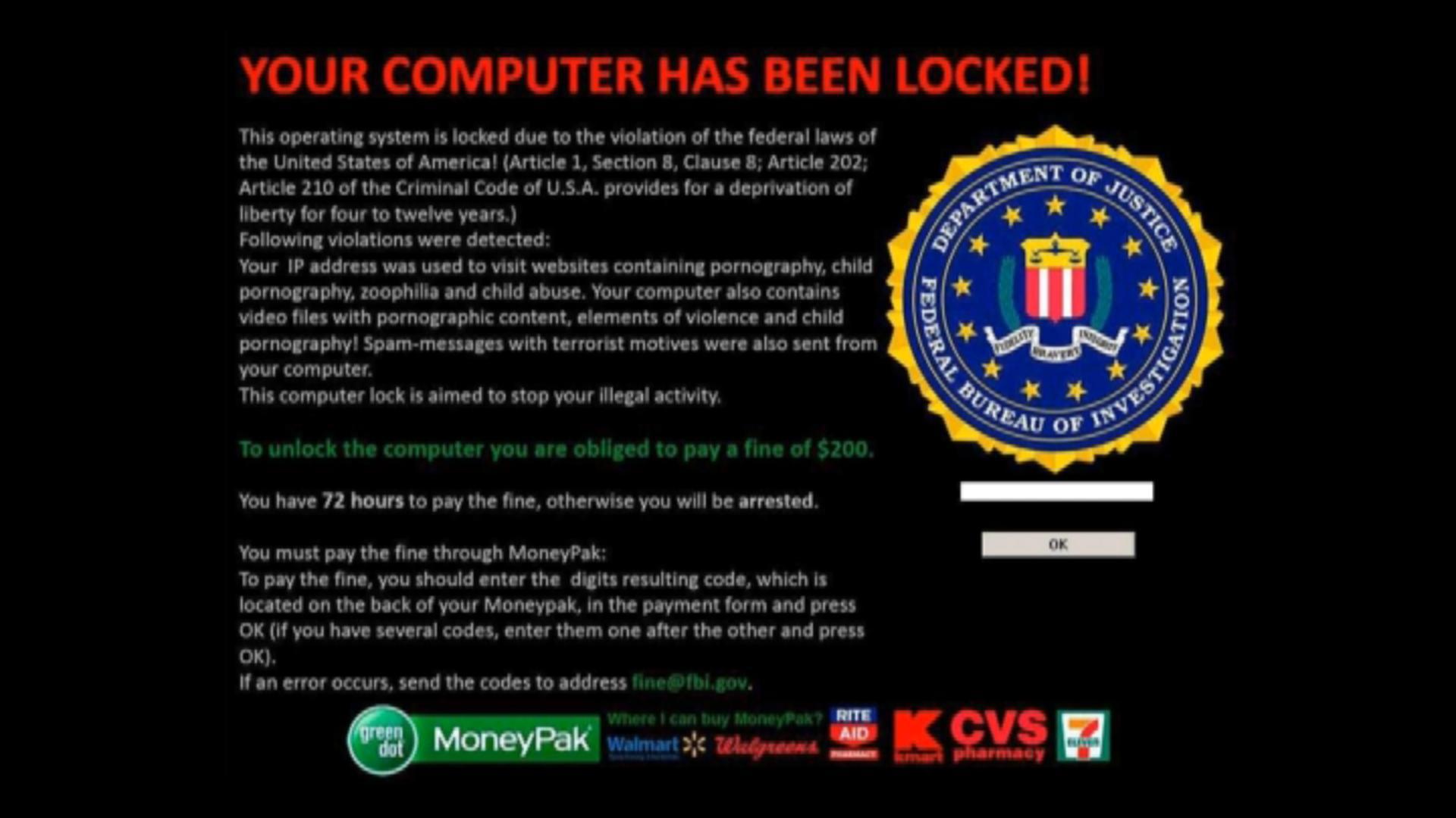 how to remove the fbi black screen of death virus fake fbi ransomware