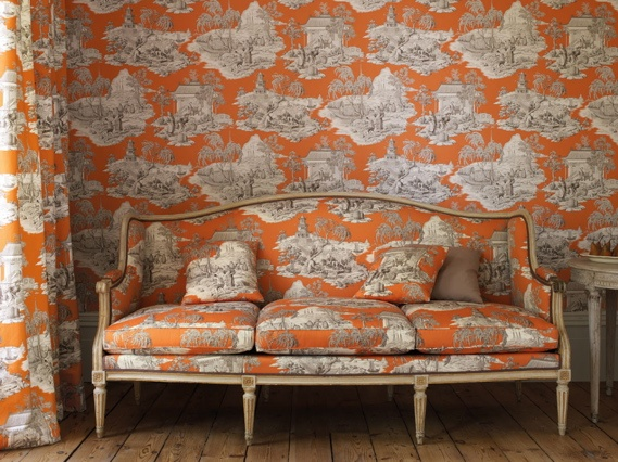 46 Matching Toile Wallpaper And Fabric On Wallpapersafari