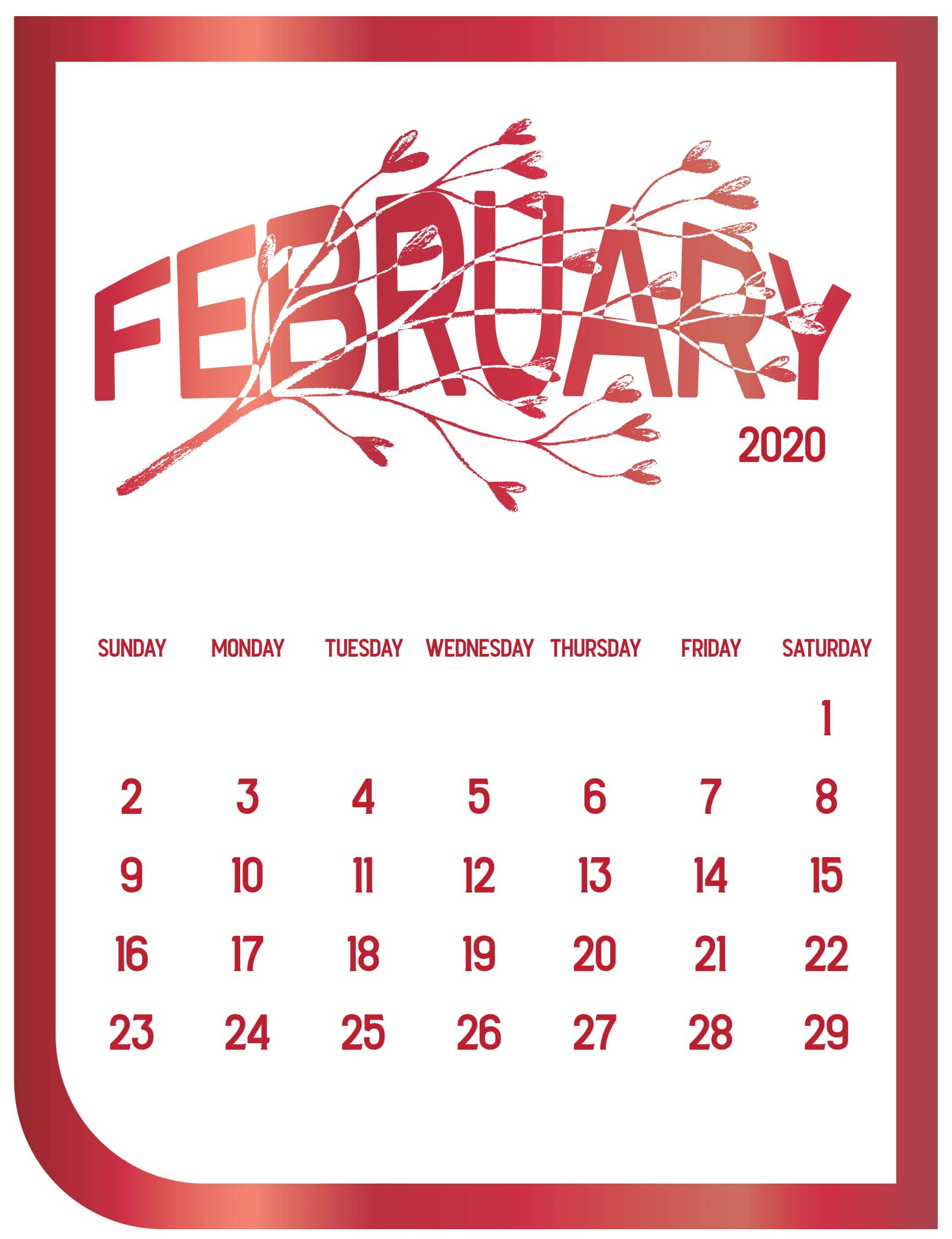 Cute February 2020 Calendar with Notes Printable   Set Your Plan 1649x2145