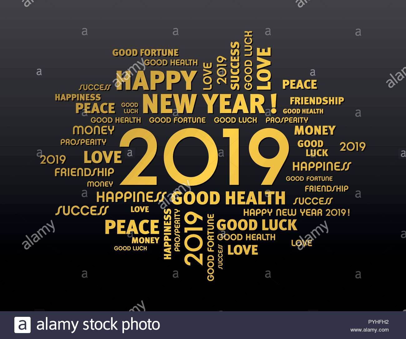 Gold greeting words around New Year date 2019 isolated on black 1300x1086