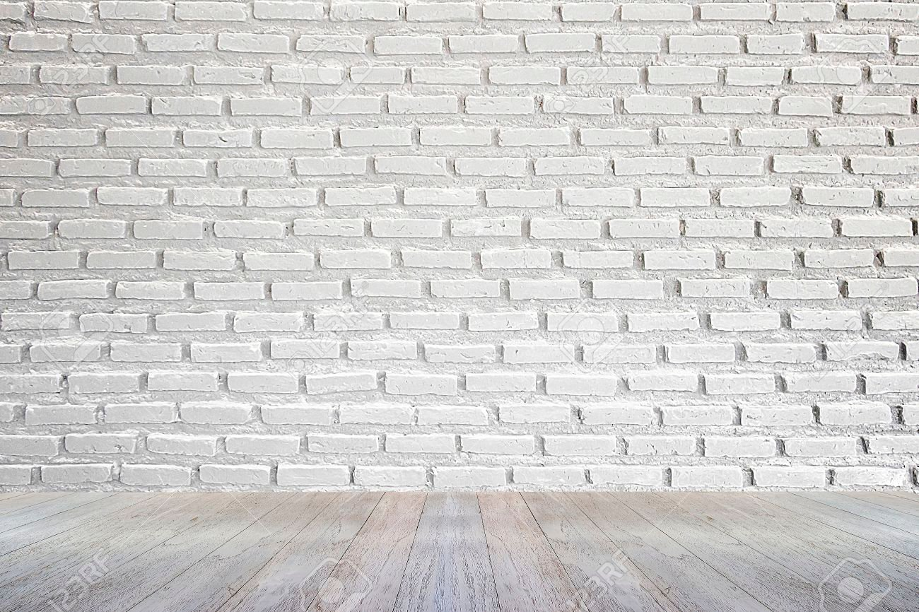 White Brick Wall And Wood Floor Background Stock Photo Picture 1300x866