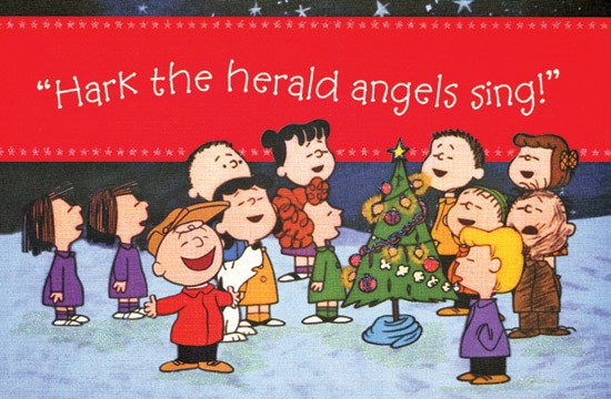 Hark the Herald Angels Sing   Peanuts Boxed Christmas Cards 550x360