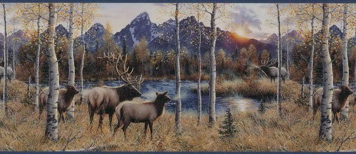 Elk River Wallpaper Border   Lodge Outdoors Wallpaper 695x300