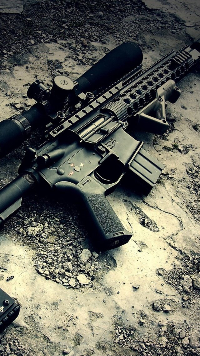 Military Rifle iPhone 5 Wallpaper 640x1136 640x1136