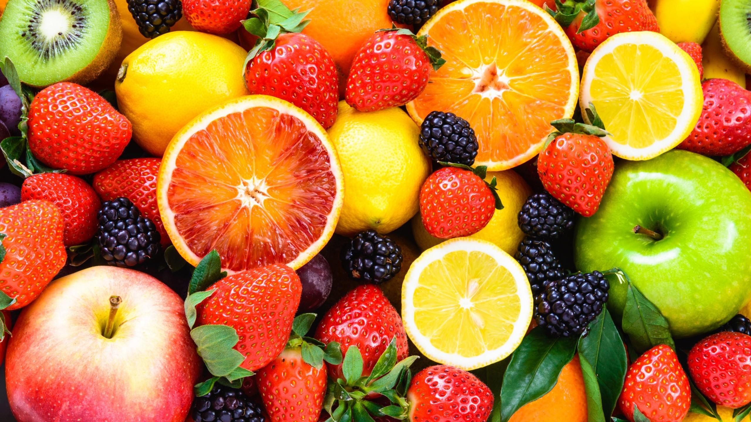 Wallpaper fruit apple orange strawberry lemon blackberry 5k 2560x1440