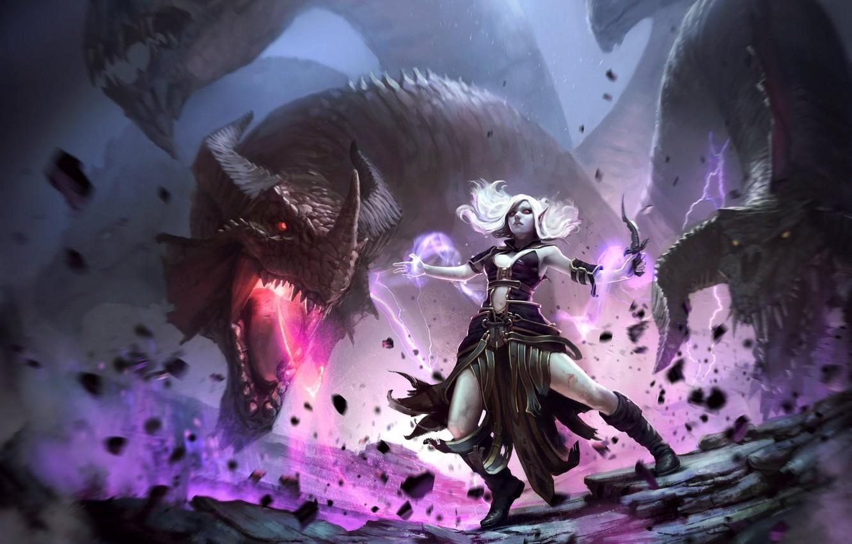 Wallpaper girl dragon ritual fantasy MAG dagger girl 1332x850