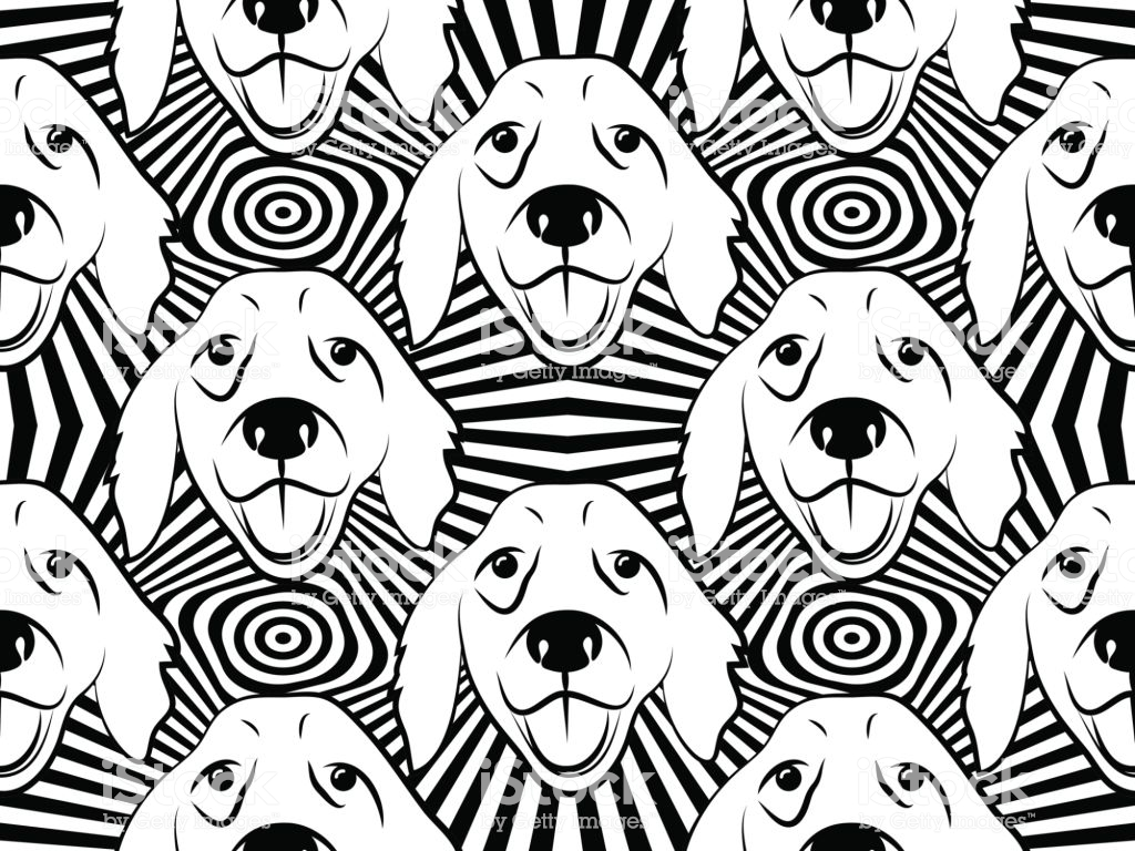 Seamless Pattern With Dogs Labrador Retriever Vector Background 1024x768