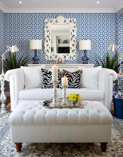 geometric blue white wallpaper living room 393x500