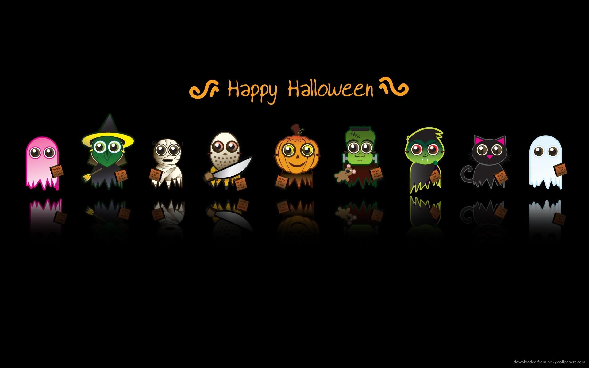 download cute halloween characters backgrounds holidays 1920x1200