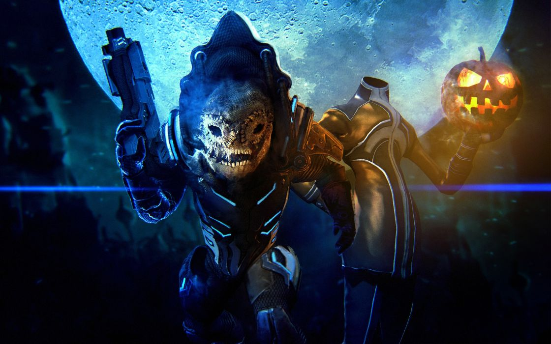 Mass Effect Halloween Pumpkin sci fi dark weapons weapon monster 1120x700