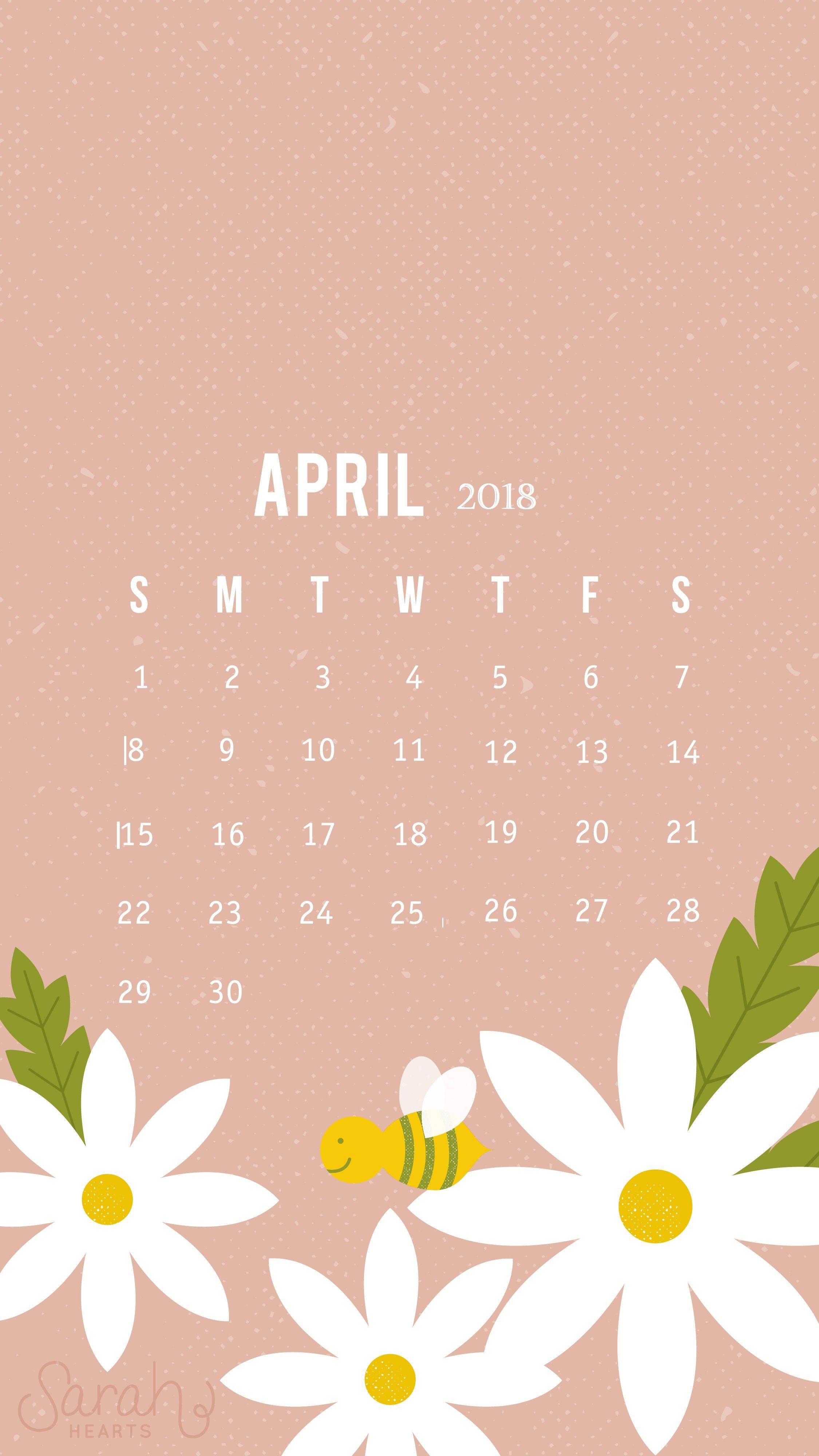 Cute April 2018 iPhone Calendar Wallpaper Calendar 2018 2250x4000