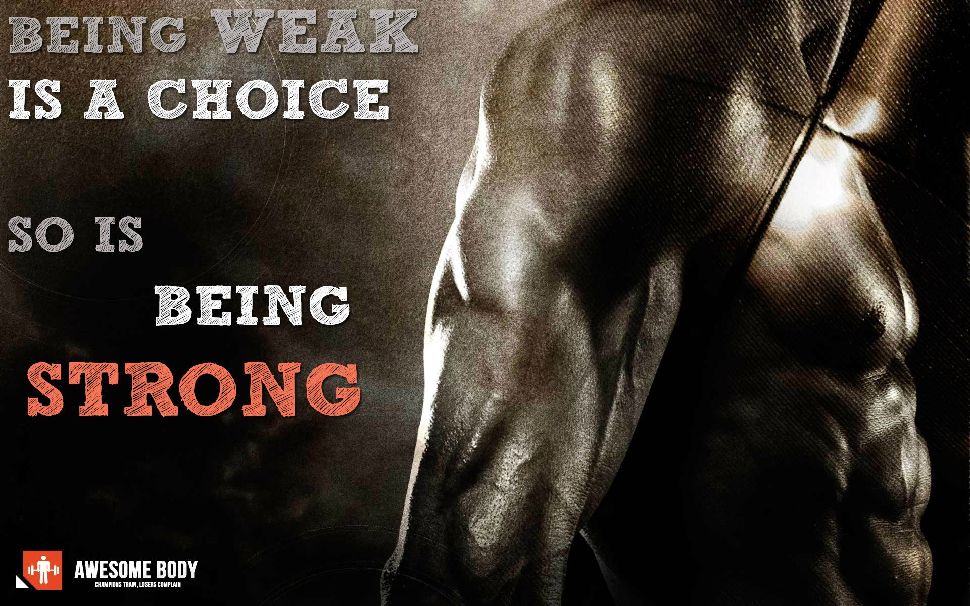 Bodybuilding Motivation Wallpaper HD Being strong is choice 1920x1200